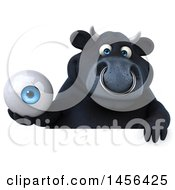 3d Black Bull Character Holding An Eyeball On A White Background