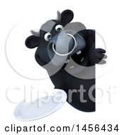 3d Black Bull Character Holding A Plate On A White Background