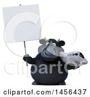 Clipart Graphic Of A 3d Black Bull Character Holding A Plane On A White Background Royalty Free Illustration