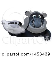 3d Black Bull Character Holding A Plane On A White Background