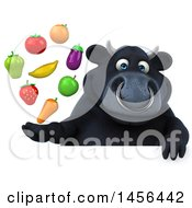 3d Black Bull Character Holding Produce On A White Background