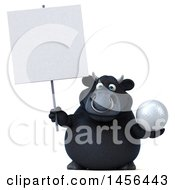 3d Black Bull Character Holding A Golf Ball On A White Background