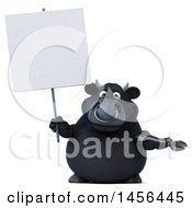 3d Black Bull Character Holding A Wrench On A White Background