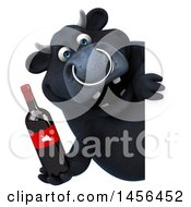 3d Black Bull Character Holding A Wine Bottle On A White Background