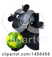 3d Black Bull Character Holding A Globe On A White Background