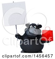 3d Black Bull Character Holding A Shopping Bag On A White Background
