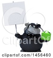 3d Black Bull Character Holding A Gas Can On A White Background