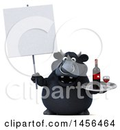 3d Black Bull Character Holding A Wine Tray On A White Background