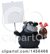 3d Black Bull Character Holding A Chocolate Easter Egg On A White Background
