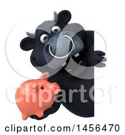 3d Black Bull Character Holding A Piggy Bank On A White Background
