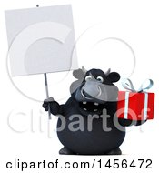 3d Black Bull Character Holding A Gift On A White Background