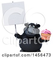 3d Black Bull Character Holding A Cupcake On A White Background