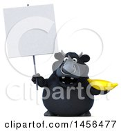 3d Black Bull Character Holding A Banana On A White Background