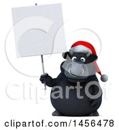 3d Black Christmas Bull Character Holding A Blank Sign On A White Background