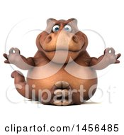 Clipart Graphic Of A 3d Brown Tommy Tyrannosaurus Rex Dinosaur Mascot Meditating On A White Background Royalty Free Illustration
