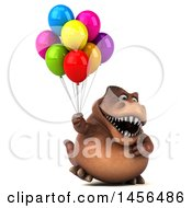 Poster, Art Print Of 3d Brown Tommy Tyrannosaurus Rex Dinosaur Mascot Holding Party Balloons On A White Background