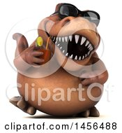 Clipart Graphic Of A 3d Brown Tommy Tyrannosaurus Rex Dinosaur Mascot Drinking A Cocktail On A White Background Royalty Free Illustration