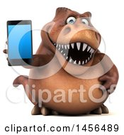 Clipart Graphic Of A 3d Brown Tommy Tyrannosaurus Rex Dinosaur Mascot Holding A Smart Phone On A White Background Royalty Free Illustration