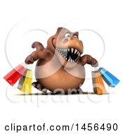 Clipart Graphic Of A 3d Brown Tommy Tyrannosaurus Rex Dinosaur Mascot Carrying Shopping Bags On A White Background Royalty Free Illustration