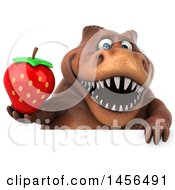 Clipart Graphic Of A 3d Brown Tommy Tyrannosaurus Rex Dinosaur Mascot Holding A Strawberry On A White Background Royalty Free Illustration