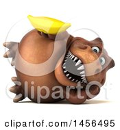 Clipart Graphic Of A 3d Brown Tommy Tyrannosaurus Rex Dinosaur Mascot Holding A Banana On A White Background Royalty Free Illustration