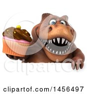 Poster, Art Print Of 3d Brown Tommy Tyrannosaurus Rex Dinosaur Mascot Holding A Cupcake On A White Background