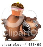 Clipart Graphic Of A 3d Brown Tommy Tyrannosaurus Rex Dinosaur Mascot Holding A Cupcake On A White Background Royalty Free Illustration