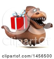 Poster, Art Print Of 3d Brown Tommy Tyrannosaurus Rex Dinosaur Mascot Holding A Gift On A White Background