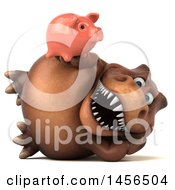 Clipart Graphic Of A 3d Brown Tommy Tyrannosaurus Rex Dinosaur Mascot Holding A Piggy Bank On A White Background Royalty Free Illustration