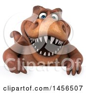 Clipart Graphic Of A 3d Brown Tommy Tyrannosaurus Rex Dinosaur Mascot Over A Sign On A White Background Royalty Free Illustration