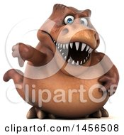 Clipart Graphic Of A 3d Brown Tommy Tyrannosaurus Rex Dinosaur Mascot Holding A Thumb Down On A White Background Royalty Free Illustration
