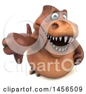 Clipart Graphic Of A 3d Brown Tommy Tyrannosaurus Rex Dinosaur Mascot Holding Up A Thumb Down On A White Background Royalty Free Illustration