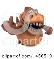 Clipart Graphic Of A 3d Brown Tommy Tyrannosaurus Rex Dinosaur Mascot Holding Up A Middle Finger On A White Background Royalty Free Illustration