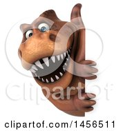 Poster, Art Print Of 3d Brown Tommy Tyrannosaurus Rex Dinosaur Mascot Looking Around A Sign On A White Background