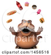 Clipart Graphic Of A 3d Brown Tommy Tyrannosaurus Rex Dinosaur Mascot Juggling Junk Food On A White Background Royalty Free Illustration