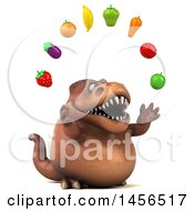 Clipart Graphic Of A 3d Brown Tommy Tyrannosaurus Rex Dinosaur Mascot Juggling Produce On A White Background Royalty Free Illustration