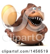 Clipart Graphic Of A 3d Brown Tommy Tyrannosaurus Rex Dinosaur Mascot Holding An Egg On A White Background Royalty Free Illustration
