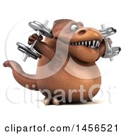 Clipart Graphic Of A 3d Brown Tommy Tyrannosaurus Rex Dinosaur Mascot Working Out With Dumbbells On A White Background Royalty Free Illustration