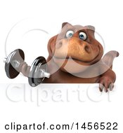 Clipart Graphic Of A 3d Brown Tommy Tyrannosaurus Rex Dinosaur Mascot Working Out With A Dumbbell On A White Background Royalty Free Illustration