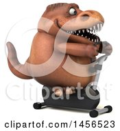 Clipart Graphic Of A 3d Brown Tommy Tyrannosaurus Rex Dinosaur Mascot Exercising On A Spin Bike On A White Background Royalty Free Illustration