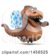 Clipart Graphic Of A 3d Brown Tommy Tyrannosaurus Rex Dinosaur Mascot Holding A Milk Carton On A White Background Royalty Free Illustration