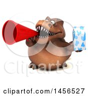 Poster, Art Print Of 3d Brown Tommy Tyrannosaurus Rex Dinosaur Mascot Holding A Milk Carton On A White Background