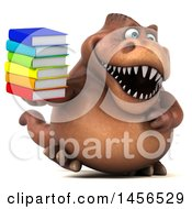 Poster, Art Print Of 3d Brown Tommy Tyrannosaurus Rex Dinosaur Mascot Holding A Stack Of Books On A White Background