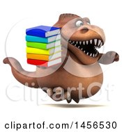 Clipart Graphic Of A 3d Brown Tommy Tyrannosaurus Rex Dinosaur Mascot Holding A Stack Of Books On A White Background Royalty Free Illustration