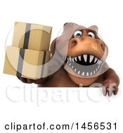 Clipart Graphic Of A 3d Brown Tommy Tyrannosaurus Rex Dinosaur Mascot Holding Boxes On A White Background Royalty Free Illustration