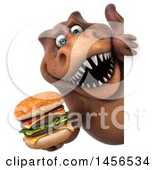 Clipart Graphic Of A 3d Brown Tommy Tyrannosaurus Rex Dinosaur Mascot Holding A Burger On A White Background Royalty Free Illustration
