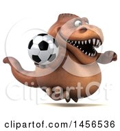 Clipart Graphic Of A 3d Brown Tommy Tyrannosaurus Rex Dinosaur Mascot Holding A Soccer Ball On A White Background Royalty Free Illustration