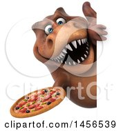 Clipart Graphic Of A 3d Brown Tommy Tyrannosaurus Rex Dinosaur Mascot Holding A Pizza On A White Background Royalty Free Illustration