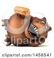 Poster, Art Print Of 3d Brown Tommy Tyrannosaurus Rex Dinosaur Mascot Holding A Hot Dog On A White Background
