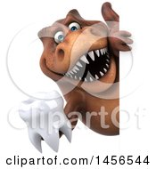 Clipart Graphic Of A 3d Brown Tommy Tyrannosaurus Rex Dinosaur Mascot Holding A Tooth On A White Background Royalty Free Illustration